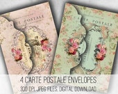 Digital Collage Sheet Download - Shabby Chic Paris Envelopes -  1033  - Digital Paper - Instant Download Printables