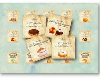 Digital Collage Sheet Download - French Patisserie 1 inch Square -  286   for Jewelry Pendants - Instant Download Printables