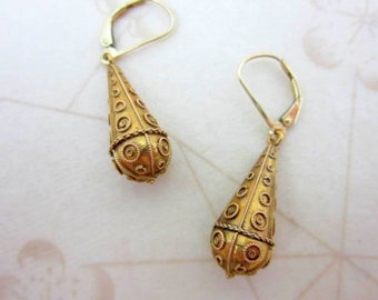 CLEARANCE SALE victorian solid 14k gold etruscan dangle earrings - antique 1800's tear drop earrings  with safety hooks