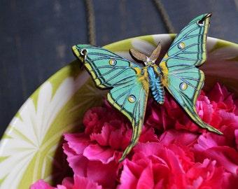 LUNA wooden moth image necklace
