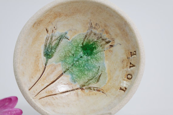 Modern Pottery Bowl Botanical Flowers Floral Ceramic Art Trinket Jewelry Ring Soap Dish Ideal Gift