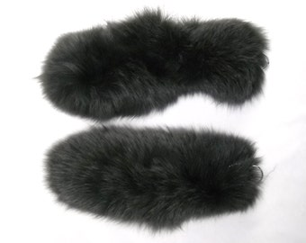 """9-11"""" Charcoal fox tails real fur keychain"""