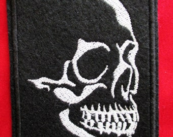 Embroidered Glow In The Dark Skull Applique Patch, Green Glowing Skull Patch, Gothic, Biker Patch