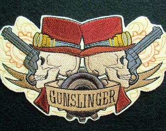 Embroidered Western Steampunk Gunslinger Applique Patch Iron On Sew On, Biker, Gothic, Wild Wild West Steampunk Style, Skull Skulls and Guns