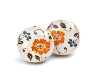 orange and navy floral stud earrings, flower studs, flower post earrings, eco friendly jewelry, hypoallergenic wood earrings