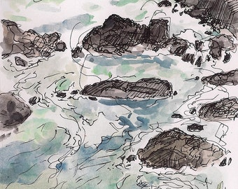 Waves at cove Jamestown rocks, roaring scenic ocean landscape print 8.5x11 sea wall decor Home & Living color Print gift idea watercolor art