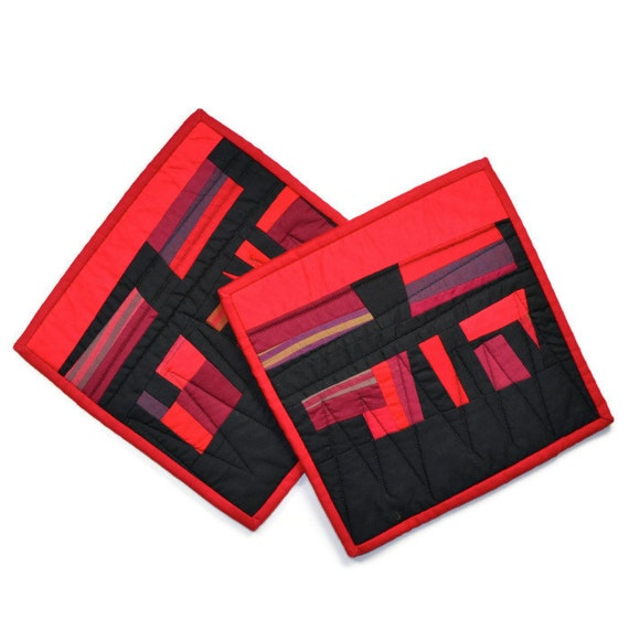 Red Pot Holders: Black Pot Holders Modern Potholders Red And Black Quilted