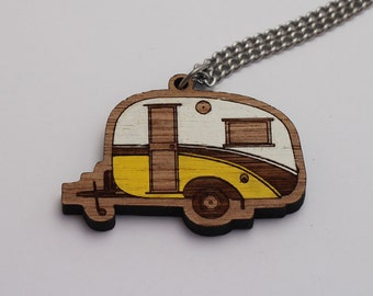 Laser cut wood necklace pendant, Cosy, cute vintage caravan, yellow and white handpainted