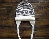 Traditional  / vintage icelandic knits / nordic heart / handmade  hat  / brown  / Dolly Topsy Etsy.