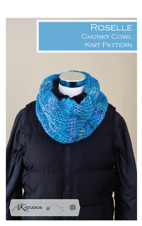 Knitting Patterns For Chunky Yarn : Knitting PATTERN Chunky yarn cabled cowl by AudreyKerchnerstudio