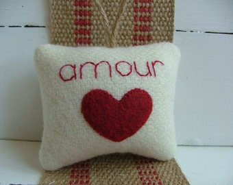 "Red Heart Valentine's Day Decoration, French Inspired ""amour"" with Red Heart and Twine, Pendleton wool"