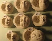 YOUR CHOICE - Rigid Polymer Clay Character Doll Face Cab Push Press Molds Mould by Art of Two M's
