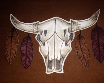 Cow Skull ~ Burnt Leather Patch/ Applique   FREE SHIPPING