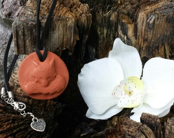 3D Fox Terra cotta Essential Oil Diffuser Pendant for Aromatherapy Necklace