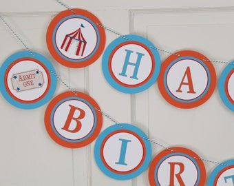 MOD CIRCUS Happy Birthday or Baby Shower Banner - Orange Blue - Party Packs Available