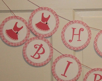 TUTU CUTE Birthday or Baby Shower Party Banner Pink