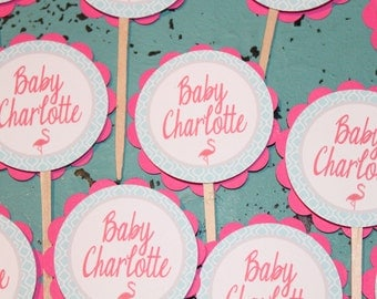 PINK FLAMINGO Baby Shower or Happy Birthday Cupcake Toppers Set of 12 {1 Dozen} - Party Packs Available