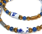 Ivar Holt necklace, hand painted enamel 14k gold filled necklace in blues and white