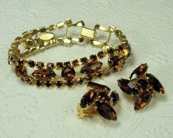 Rootbeer Rhinestone Bracelet and Earrings Demi Parure