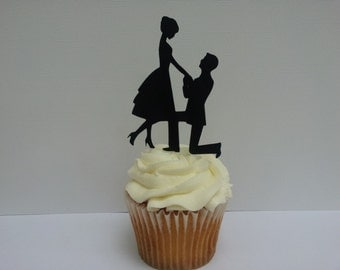 12 Proposal Silhouette cupcake toppers, party decoration.