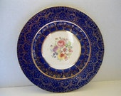 Pottery Plate in Cobalt blue and  gold  Warranted 22k Gold Made in the USA marked Art Nouveau Keystone Canonsburg