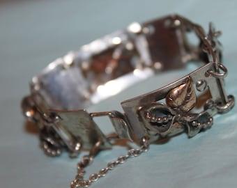 Fab 50's Solid Sterling and Gold Veneer Hammered Linked Bracelet
