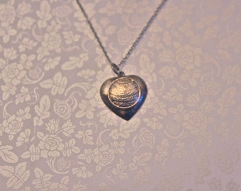 Vintage Silver Heart Necklace \\ Heart Necklace