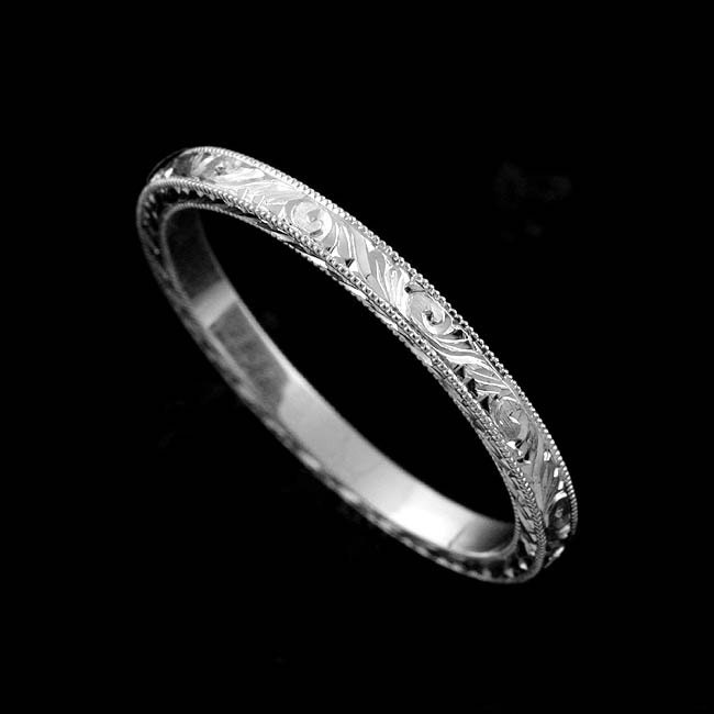 Platinum 2mm Hand Engraved Wedding Band With Milgrain: Hand Engraved Wedding Ring Art Deco Style Eternity Wedding