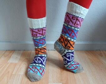 Knee High Socks, Wool Socks, Hand Knit Long Socks, Boot Socks,Winter Fashion, Gift under 50