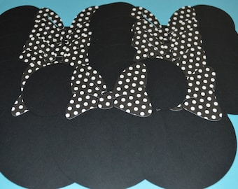 """Minnie Mouse Die Cuts (20) 5"""" with Black & White Polka Dot Bows"""