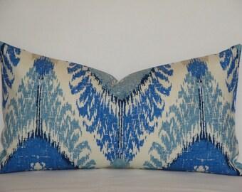 BOTH SIDES Or Front Only - IKAT- Lumbar Decorative Pillow Cover - Medium blue - Light blue - Baltic blue - Beige Pillow