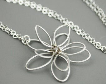 Silver Flower Necklace, Wire Flower Necklace,  Flower Pendant,  Flower Jewerly