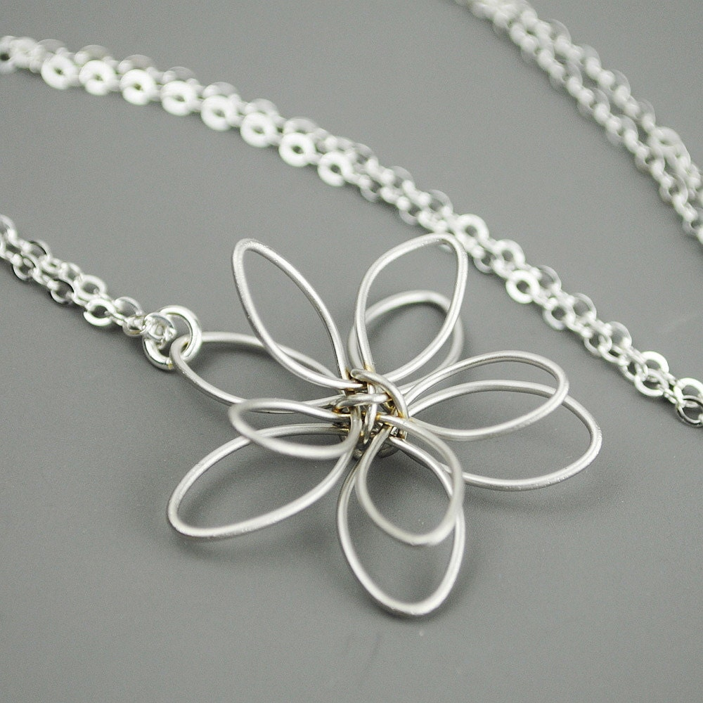 silver flower necklace wire flower necklace by
