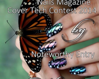 Hand-Painted Iridescent Butterfly Artificial Nail Art As Seen In NAILS Magazine January 2014