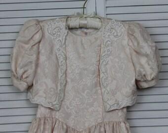 Vintage 1980s Girls Dress Pink/Ivory Brocade Size 8 by Jessica McClintock Girls