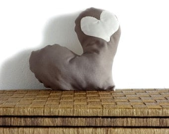 Toss pillow heart  - decorative pillow brown+white with white heart  - OOAK