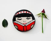 Book Brooch Pin. Girl Reading Hand painted Pin. Bookworm Illustrated Polymer Clay Brooch. Art Pin.