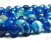 10mm Blue Striped Faceted Agate Round Gemstone Beads - 15pcs - BE2