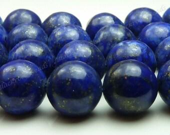 Lapis Lazuli Round Natural Gemstone Beads - 15.5 Inch Strand - 9mm to 10mm, Dark Blue, Pyrite Flecks - BC1