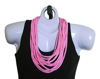 FABRIC NECKLACE, Bubble Gum Pink, Flamingo Pink, Tshirt Scarf, Recycled fabric. Ready to Ship. (See Pic #4 for Styling Options)