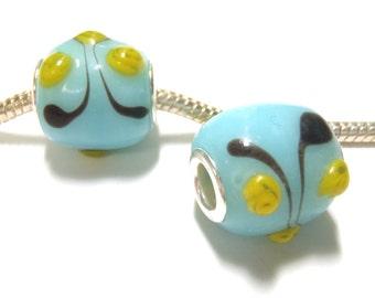3 Beads - Blue Yellow Dots Swirl Lampwork Silver European Bead Charm E1328