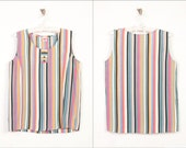 Candy Striped Cotton Blouse Pink Orange Blue White Black - BudapestVintage