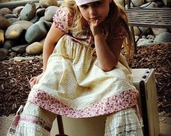 Ruffle Pants/vintage script & lace/ girls 2t-8
