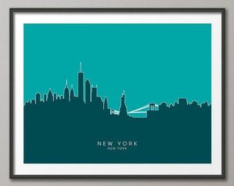 New York Skyline, NYC Cityscape Art Print (632)