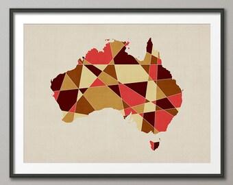 Australia Map, Geometric Retro Art Print (1058)