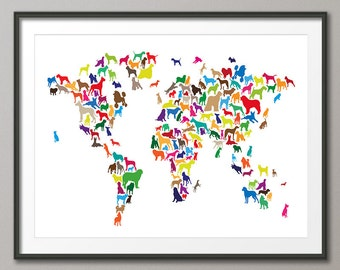 Dogs Map of the World Map, Art Print (1141)