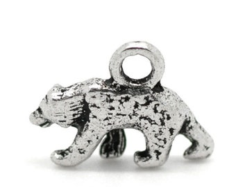 8 Bear Charms Tibetan Antique Silver Double Sided (3D) 16 x 13 mm - ts336