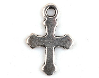 Cross Charm 10 Charms Antique Silver Tone 19 x 12 mm -   ts395