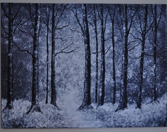 Black and White Tree Painting 18x24 Trees Large Canvas Winter Snow Acrylic Painting