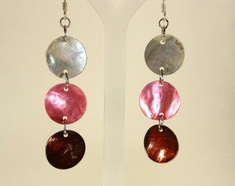 Hot Pink, Brown & White Drop Earrings